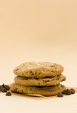 Freshly Baked Chocolate Chip Cookies. With Morsel Around The Cookies Stock Photo