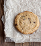 Freshly baked chocolate chip cookies. On paper royalty free stock photography