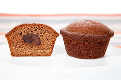 Freshly baked chocolate  muffins Stock Photos