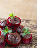 Freshly baked chocolate muffins with currant and mint in red forms. On wooden table Stock Photos