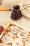 Freshly baked cinnamon rolls in baking tray Royalty Free Stock Photos
