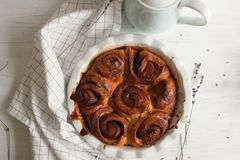 Cinnamon rolls. Freshly baked with cinnamon rolls and plum jam royalty free stock photo