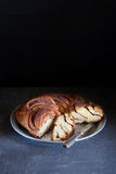 Freshly baked  Cinnamon sweet bread wreath Royalty Free Stock Images