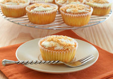Freshly baked coconut vanilla cupcakes. On white plate Stock Photography