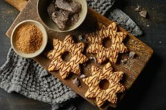 Freshly baked cookies decorated with chocolate and sugar royalty free stock photo