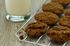 Freshly baked cookies and a glass of milk Stock Images