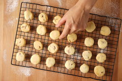 Freshly baked cookies on a tray served on kitchen table Stock Images