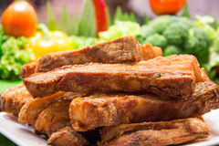 Freshly baked crispy pork belly Stock Images