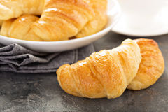 Freshly baked croissants in a bowl Royalty Free Stock Images