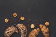 Homemade french croissants and cookies on wood Stock Photography