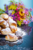 Freshly baked croissants on plate for breakfast Royalty Free Stock Photography