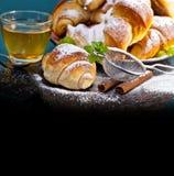 Freshly baked croissants on plate for breakfast Stock Photography
