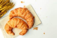 Freshly baked croissants on white background Royalty Free Stock Images