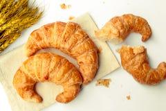 Freshly baked croissants on white background Stock Photos