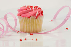 Freshly Baked Cupcake. With Pink Frosting Stock Photography