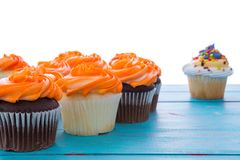 Freshly baked cupcakes with decorative icing Stock Photo