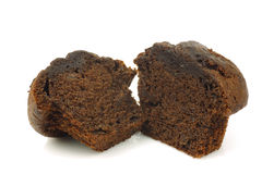 Freshly baked cut chocolate muffin Royalty Free Stock Photo