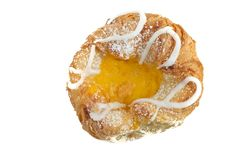 Freshly Baked Danish Pastry On White Background. Freshly baked danish pastry isolated on white background close up royalty free stock photo