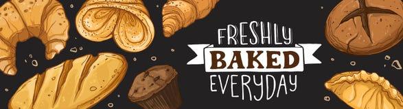 Fresh bread poster. Freshly Baked everyday lettering. Horizontal poster composition from hand drawn bread. Vector illustration for bakery shops on blackboard stock illustration