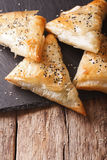 Freshly baked filo pastry with chicken, spinach and cheese close Royalty Free Stock Photos