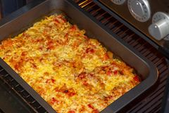 Freshly baked fish, meat and vegetable casserole with tomatoes and cheese stock photography
