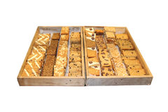 Freshly Baked Flapjack. Two Wooden Trays of Freshly Baked Flapjack Slices Stock Images