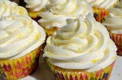Freshly baked frosted lemon cupcakes. Hot Fresh baked frosted lemon cupcakes Stock Images