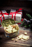 Freshly baked gingerbread cookies with milk for Christmas Stock Images