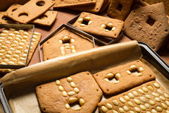 Freshly baked gingerbread cottage components Royalty Free Stock Photography