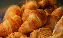 Freshly baked golden croissants close up Royalty Free Stock Images