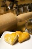 Freshly baked heart shaped cookies Stock Image