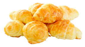 Freshly baked home made mini croissants stock photos