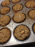 Freshly Baked Homemade Apple Muffins In Muffin Pan Stock Images