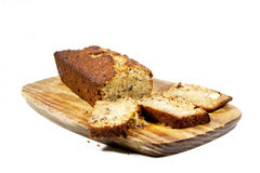 Freshly Baked Homemade Banana Bread On Cutting Board Stock Image