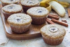 Freshly baked homemade banana cinnamon muffins, on wooden board, horizontal Royalty Free Stock Images