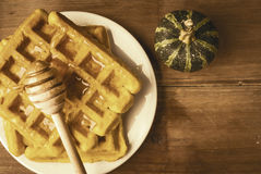 Freshly baked homemade Belgian waffles with pumpkin royalty free stock photos