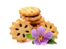 Biscuits. Freshly baked homemade biscuits with raisins on white background royalty free stock images