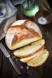 Homemade rustic bread loaf with ham Royalty Free Stock Images