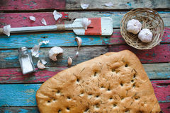 Freshly baked homemade bread on rustic wood background Royalty Free Stock Image