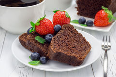 Freshly baked homemade chocolate banana bread (cake) Royalty Free Stock Images