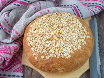 Freshly baked homemade oatmeal bread Royalty Free Stock Image