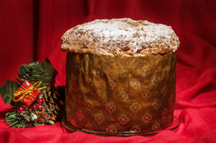 Freshly baked homemade Panettone with Christmas decoration for w Stock Photography
