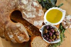 Freshly baked homemade sourdough spelt bread, extra virgin olive Stock Images
