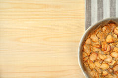 Freshly baked hot apple pie on wooden table. Royalty Free Stock Photo