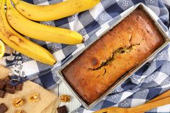 Freshly baked hot delicious banana bread royalty free stock images