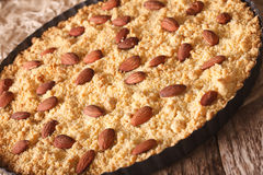 Freshly baked Italian Sbrisolona cake with almonds closeup. hori Royalty Free Stock Photography