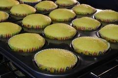 Freshly baked lemon cupcakes. Hot Fresh baked lemon cupcakes still in the oven Royalty Free Stock Image