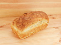 Freshly baked loaf of oat and linseed bread Royalty Free Stock Image
