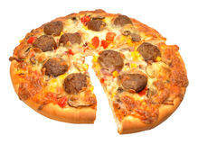 Freshly Baked Meatball Pizza Stock Images