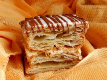 Freshly baked `milhojas` desert stock photos